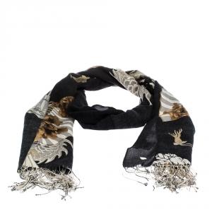 Roberto Cavalli Black & Brown Floral Printed Cashmere Blend Scarf
