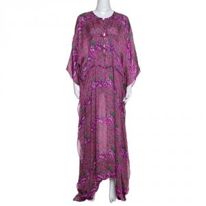 Roberto Cavalli Pink Floral Print Silk Kaftan Dress M
