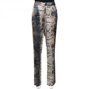 Roberto Cavalli Grey Snakeskin Printed Silk Straight Leg Trousers L