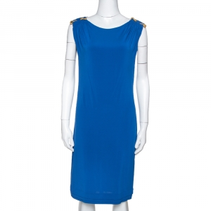 Roberto Cavalli Royal Blue Jersey Brooch Detail Shift Dress M