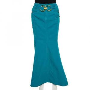 Roberto Cavalli Green Cotton Double Ring Detail Maxi Skirt M