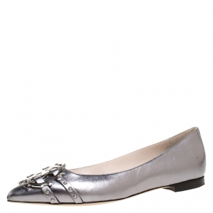 Roberto Cavalli Silver Leather Studded Logo Buckle Detail Ballet Flats Size 38