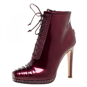 Roberto Cavalli Maroon Patent Leather and Python Embossed Leather Lace Up Ankle Boots Size 37 -