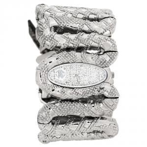 Roberto Cavalli Silver Stainless Steel Cleopatra R7253195515 Women's Wristwatch 40 mm