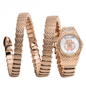 Roberto Cavalli By Franck Muller Mother Of Pearl Rose Gold Plated Stainless Steel Diamond Snake RV2L021M0051 Women's Wristwatch 23 mm