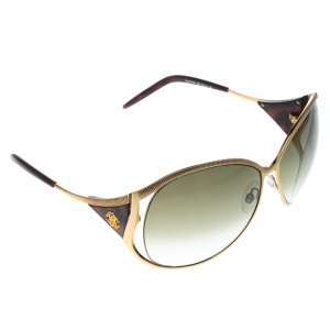 Roberto Cavalli Rose Gold/Green Gradient Fresia 574S Oversize Sunglasses