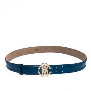 Roberto Cavalli Blue Patent Leather Logo Buckle Belt 95CM