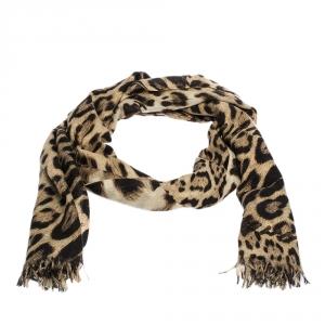 Roberto Cavalli Brown Leopard Print Cashmere Stole