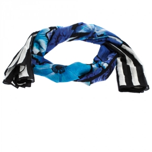 Roberto Cavalli Black & Blue Striped Floral Print Silk Blend Stole