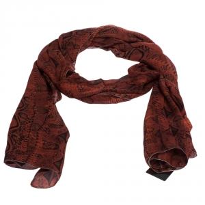 Roberto Cavalli Red Snakeskin Print Silk Stole