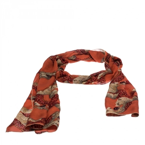 Roberto Cavalli Orange Animal Print Silk Scarf