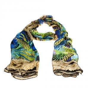 Roberto Cavalli Multicolor Animal Print Silk Scarf