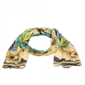 Roberto Cavalli Multicolor Eagle Print Silk Stole