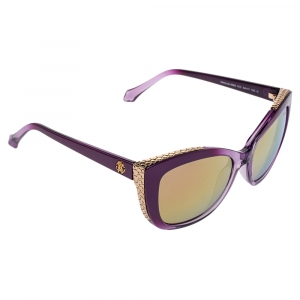 Roberto Cavalli Purple/Gold Mirror 888S Mekbuda Cat Eye Sunglasses