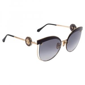 Roberto Cavalli Black & Gold / Smoke Gradient 1088 Cat Eye Sunglasses