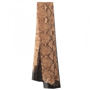 Roberto Cavalli Brown Snakeskin Print Lurex Silk Scarf