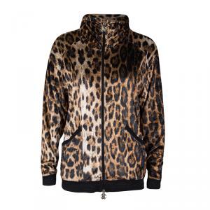 Roberto Cavalli Gym Leopard Pattern Zip Front Velvet Jacket S