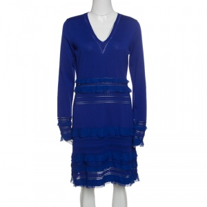 Roberto Cavalli Navy Blue Perforated Knit Ruffle Detail Long Sleeve Dress L - used