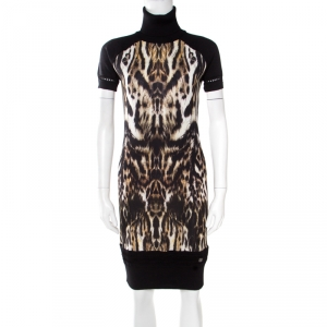 Roberto Cavalli Black Animal Printed Wool Blend Turtleneck Sweater Dress M - used