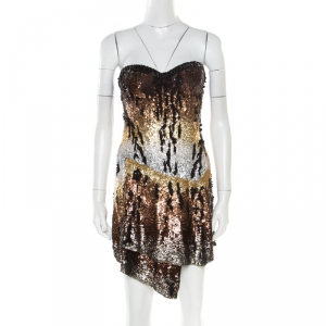 Roberto Cavalli Multicolor Sequin Embellished Strapless Bustier Dress M - used