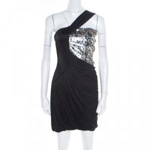 Roberto Cavalli Black Knit Sequined Bodice Draped One Shoulder Dress M - used