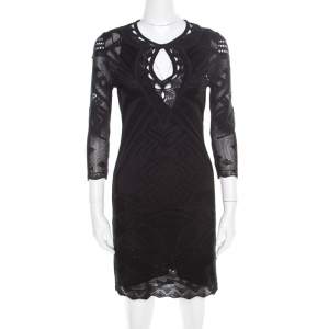 Roberto Cavalli Black Perforated Knit Long Sleeve Bodycon Dress S - used