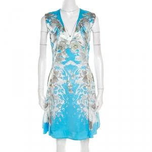 Roberto Cavalli Blue Floral Printed Satin Sleeveless Flared Dress S - used