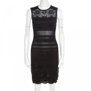 Roberto Cavalli Black Knit Lace Insert Sleeveless Fitted Dress S used