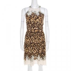 Roberto Cavalli Multicolor Animal and Baroque Printed Silk Pleated Sleeveless Dress S - used