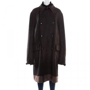 Roberto Cavalli Brown and Black Angora Wool Animal Printed Faux Fur Detail Overcoat XXL