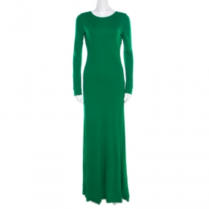 Roberto Cavalli Green Crepe Knit Plunge Back Draped Evening Gown M used