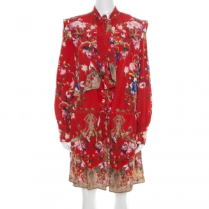 Roberto Cavalli Red Floral Foil Print Silk Crepe de Chine Dress M - used