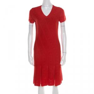 Roberto Cavalli Red Crochet Knit V Neck Godet Dress M - used