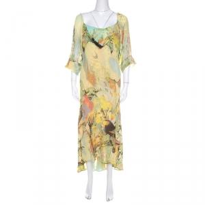 Roberto Cavalli Yellow Abstract Print Draped Neck Maxi Dress XL - used