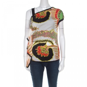 Roberto Cavalli Multicolor Abstract Printed Silk Asymmetrical Shoulder Detail Top S - used