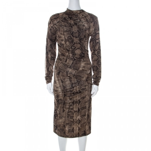 Roberto Cavalli Brown Snake Printed Jersey Ruched Detail Dress S - used