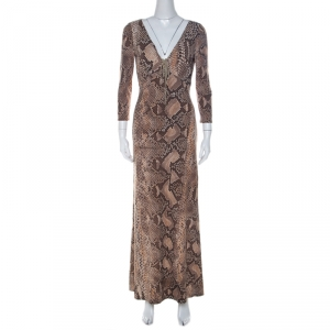 Roberto Cavalli Brown Python Print Front Lace Detail Maxi Dress M - used