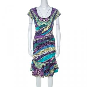 Roberto Cavalli Multicolor Printed Jersey Ruched Peplum Hem Detail Dress S - used
