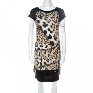 Roberto Cavalli Black and Brown Leopard Printed Jersey and Knit Short Dress S - used
