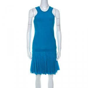 Roberto Cavalli Bright Blue Knit Sleeveless Ruffle Hem Detail Short Dress M - used