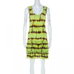 Roberto Cavalli Neon Green & Brown Printed Flounce hem Sleeveless Dress S - used