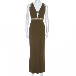 Roberto Cavalli Olive Green Crepe Sequin Trim Maxi Dress M - used
