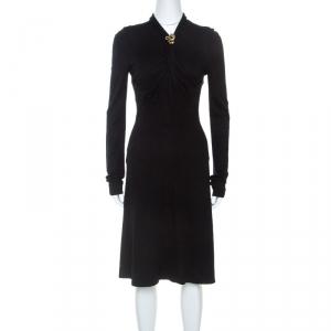 Roberto Cavalli Black Knit Serpent Brooch Detail Long Sleeve Dress S - used