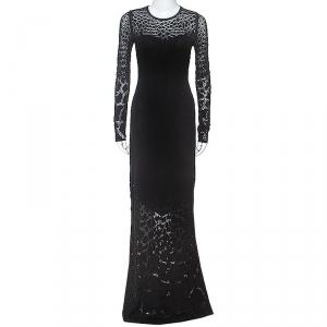 Roberto Cavalli Black Stretch Knit Sheer Detail Long Sleeve Maxi Dress S - used