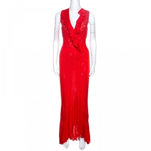 Roberto Cavalli Red Pointelle Knit Ruffle Trim Maxi Dress S - used