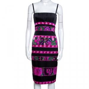 Roberto Cavalli Black Floral Print Silk Pleated Bustier Dress S - used