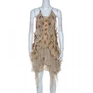 Roberto Cavalli Beige Floral Print Chiffon Silk Strappy Tiered Dress M - used