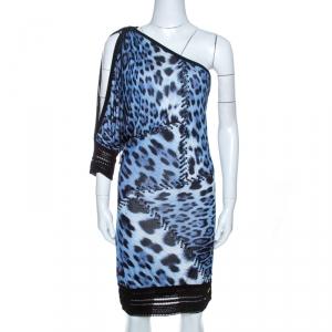 Roberto Cavalli Bicolor Animal Print Knit One Shoulder Dress M - used