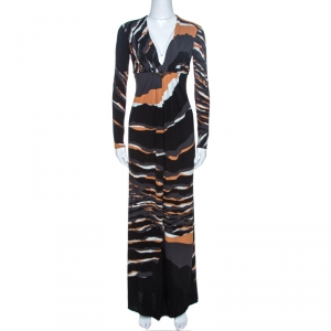 Roberto Cavalli Multicolor Stretch Jersey Draped V Neck Maxi Dress S - used