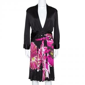Roberto Cavalli Black Floral Print Stretch Knit Plunge Neck Dress M - used